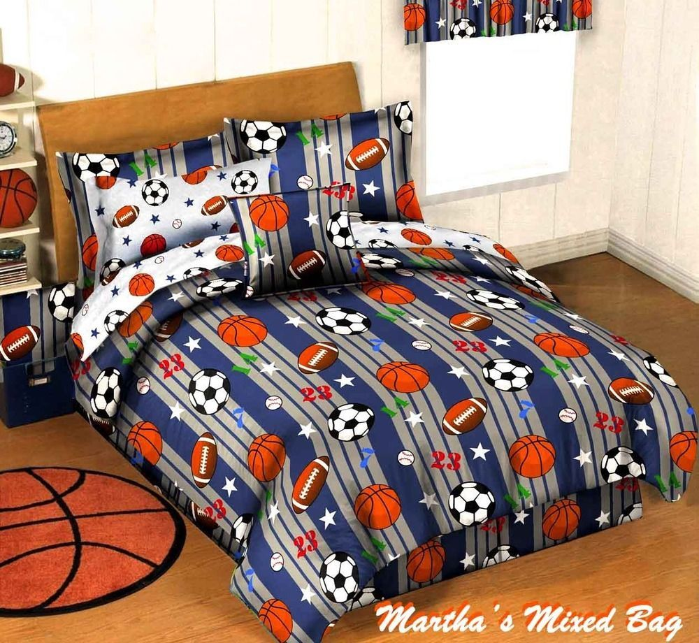 Boys Blue Gray Sports Baseball Basketball Football Soccer Comforter Set Sheets