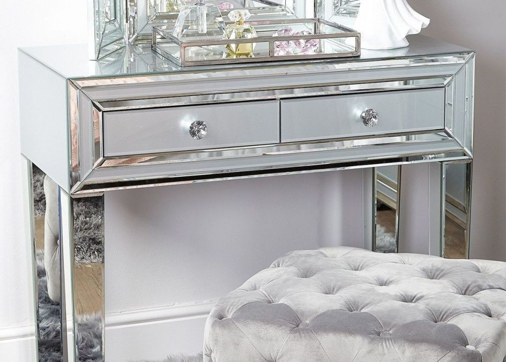 Mirrored Console Table In Many Sizes And Styles Silver Mirror