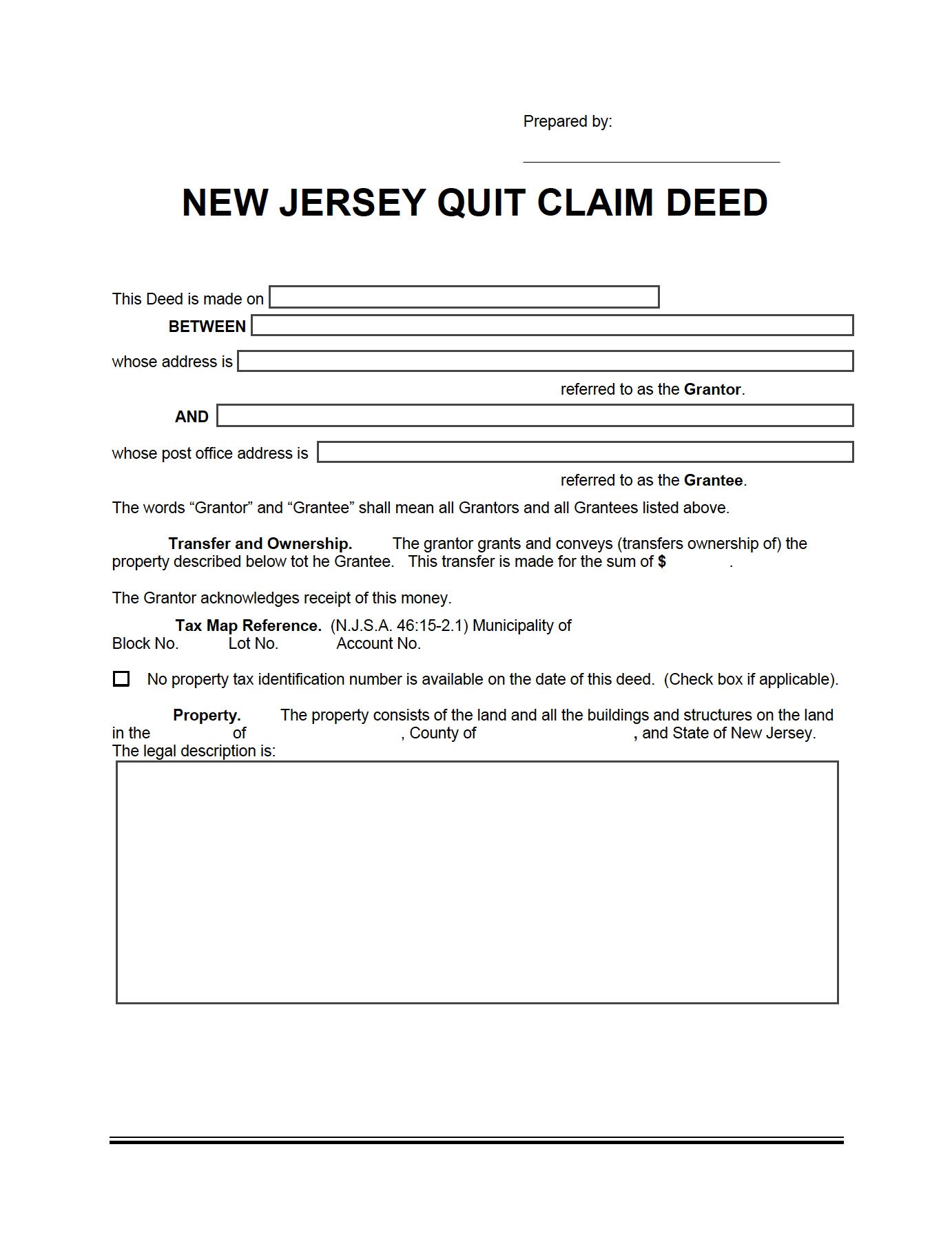 New Jersey Quit Claim Deed Form In 2020 Quites New Jersey Jersey