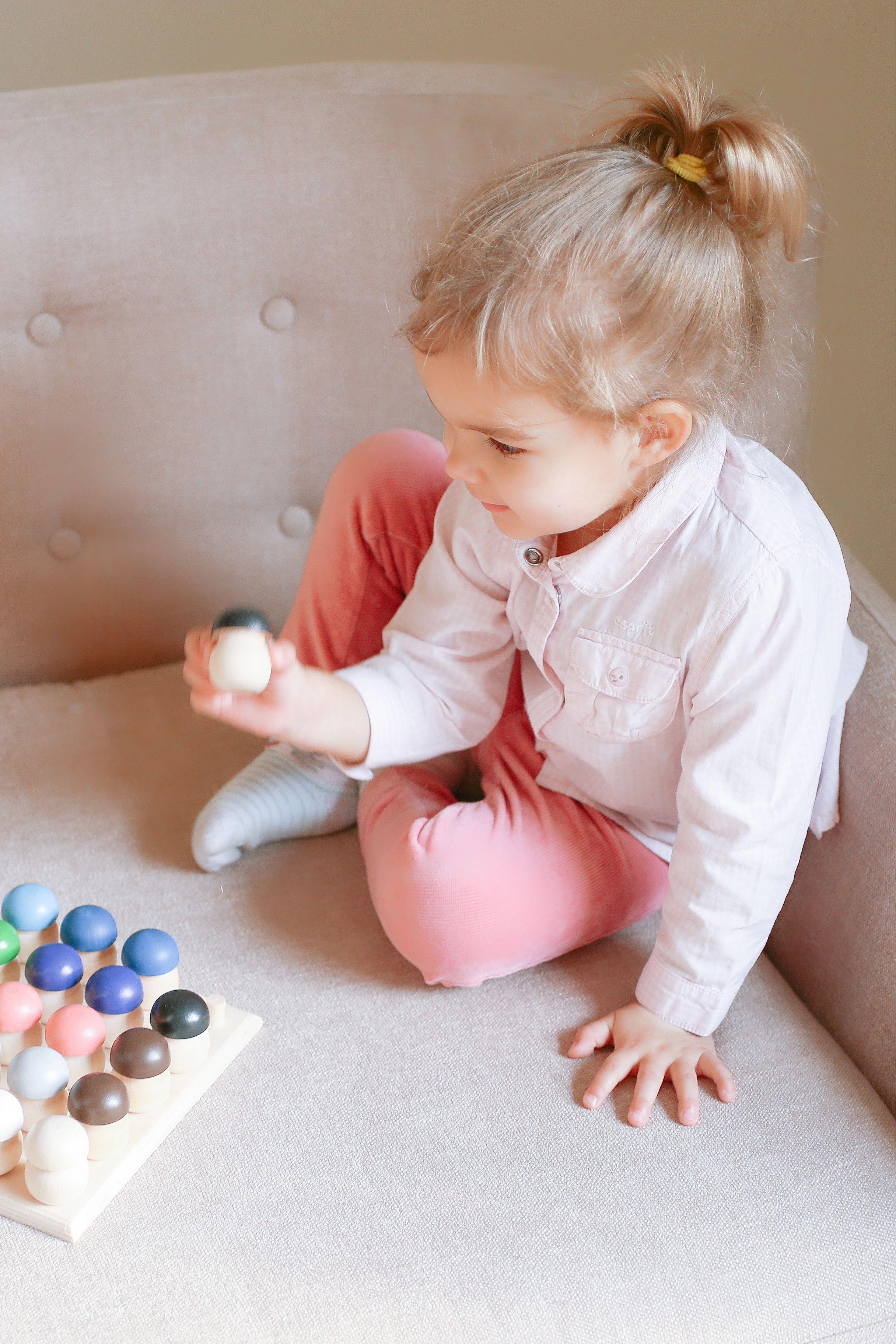 Colored Mushrooms Montessori Math Sensory Board Waldorf Toys ...