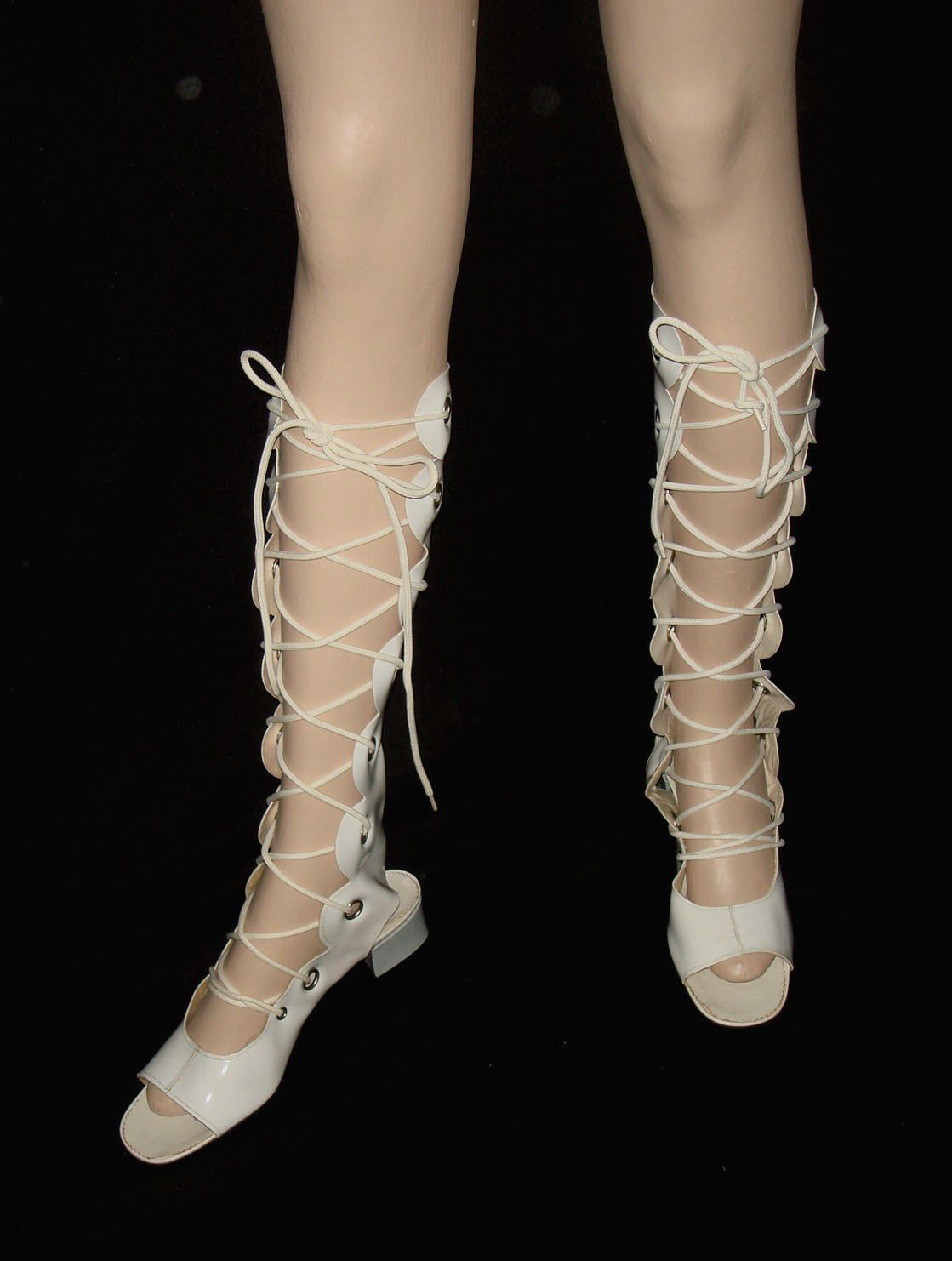 2ad72de306e Vintage 60s Gladiator Lace Up Open Toe Vinyl Boots    1960s Mod White Vinyl  Go-Go Gladiator Sandal Boots with Grommets