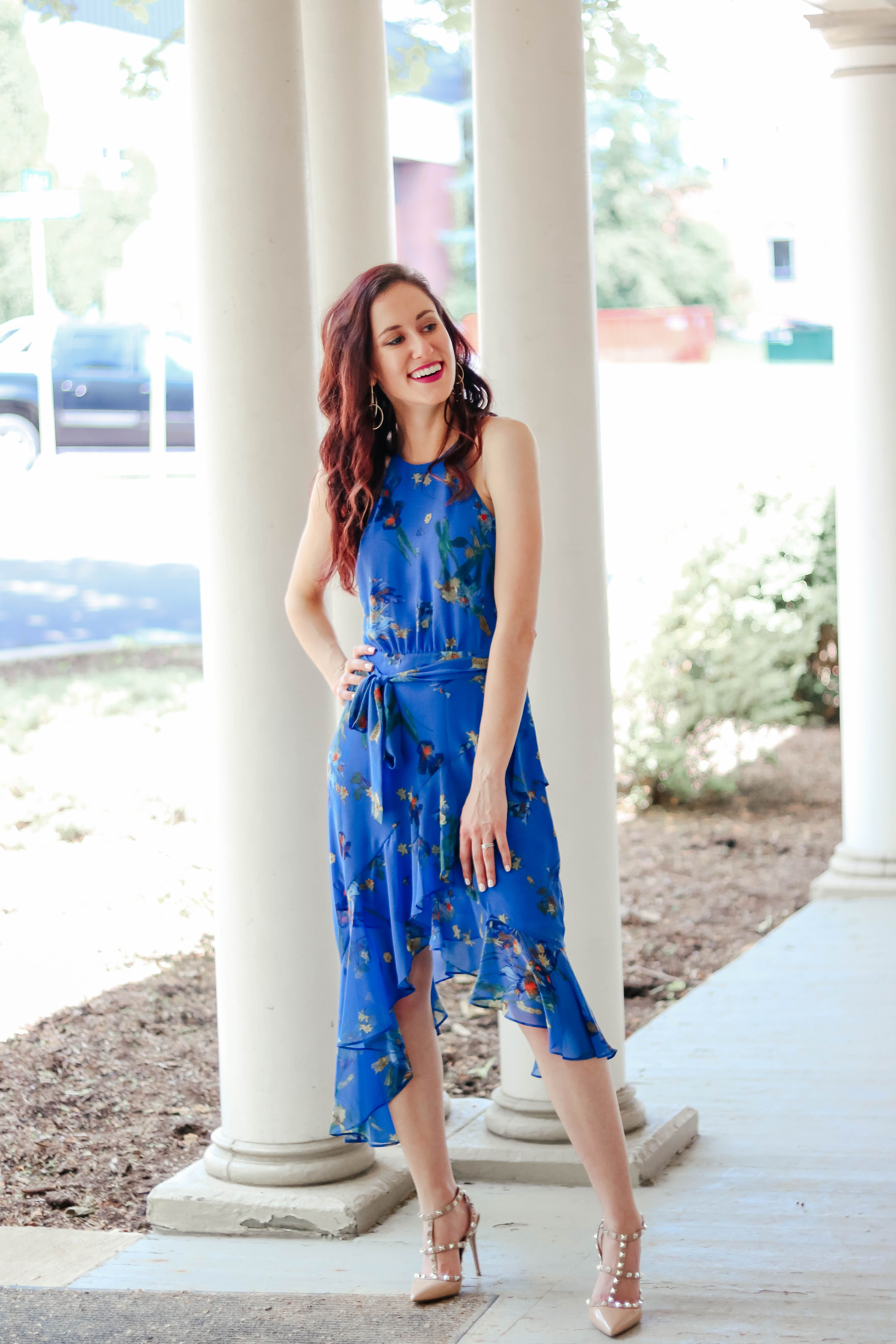 23b9ab4607 What to Wear to a Summer Wedding - This blue, floral watercolor dress is  perfect