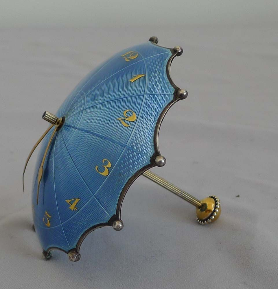 Swiss Silver And Blue Guilloche Enamel Umbrella Clock In Original Case.    Gavin Douglas Antiques