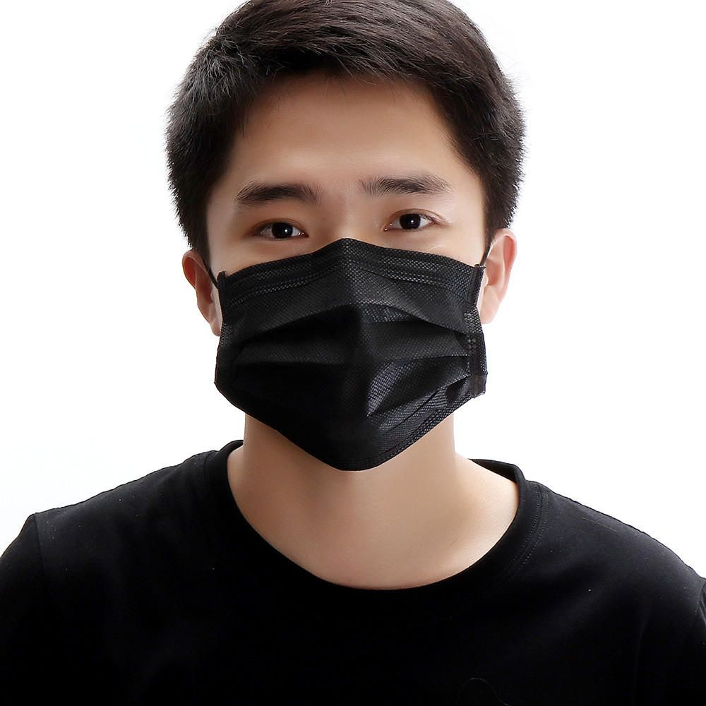 black face mask disposable for virus
