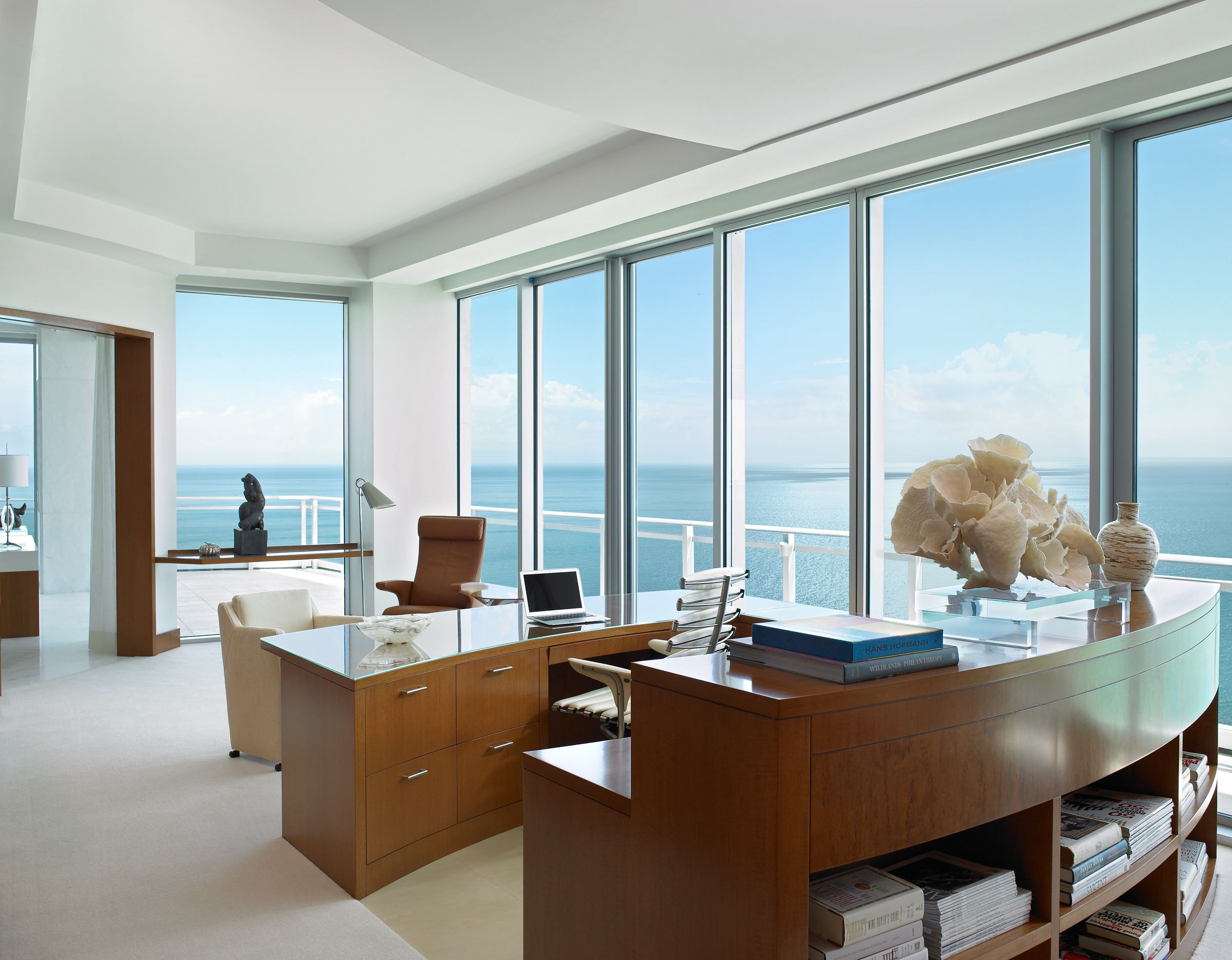 The oceanfront home office is complete with every detail