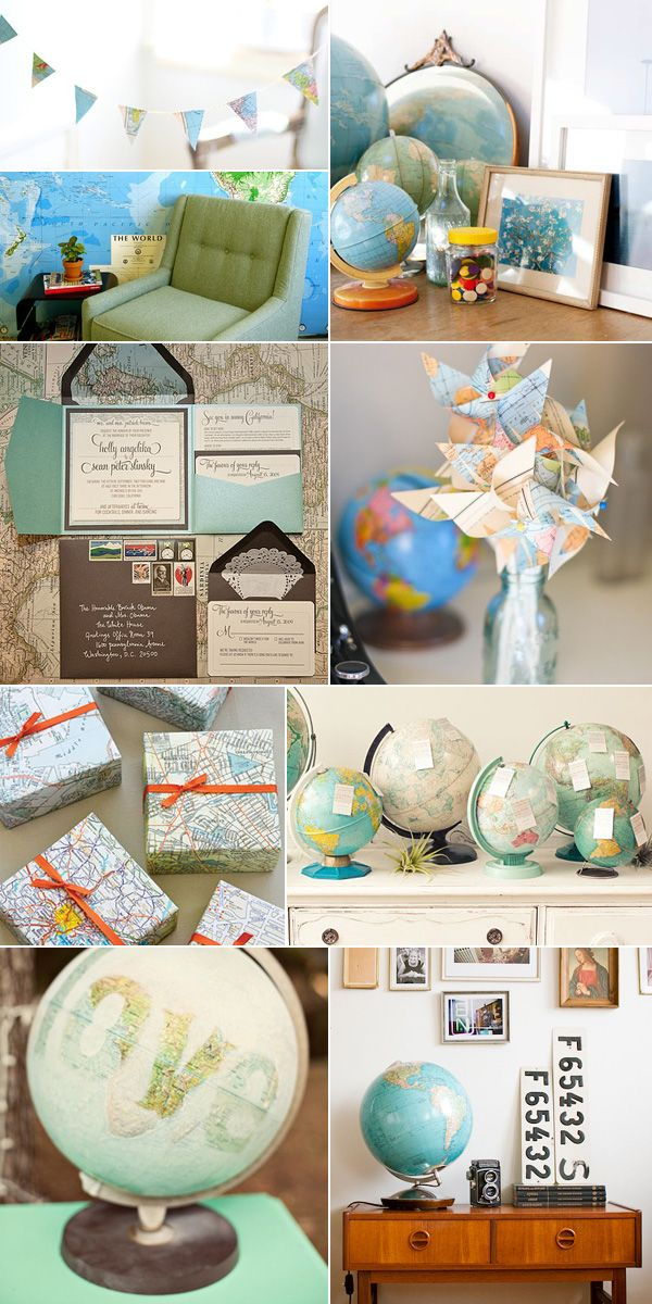 i love globes and maps also look at the doily lined envelope