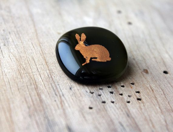 Glass Brooch with golden bunny  -  Brooch Pin - Glass Jewelry.