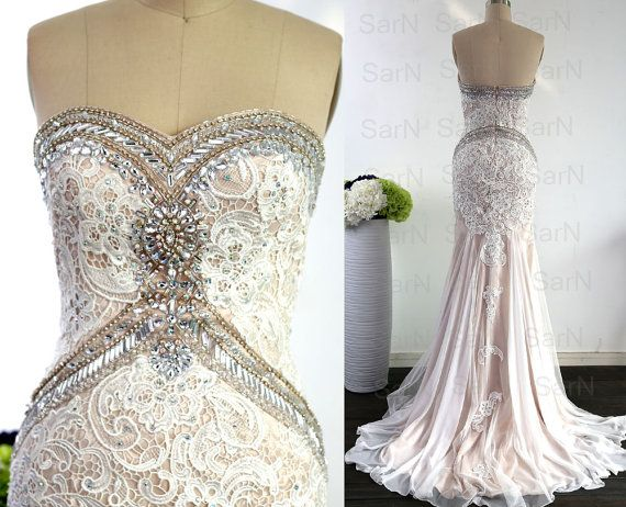 Mermaid Lace Prom Gown Champagne Lace Strapless by SarNDresses