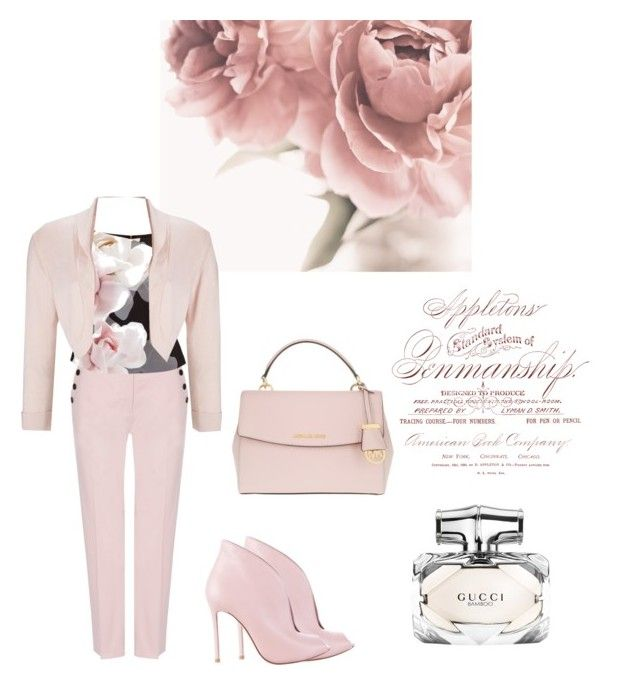 """Rose Pink Octane"" by kimberlydalessandro ❤ liked on Polyvore featuring Jaeger, Ted Baker, MICHAEL Michael Kors, Gucci, Phase Eight and Gianvito Rossi"