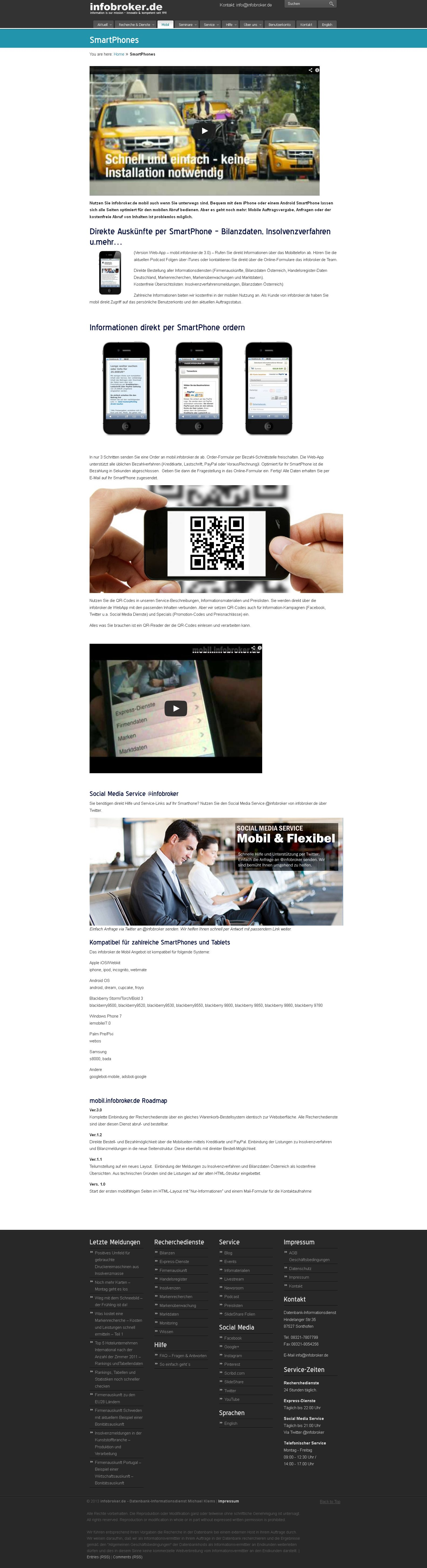 infobroker.de WebApp - Recherchedienste mobil per SmartPhone oder Tablet nutzen. Unsere Info-Seite als ScreenShot.