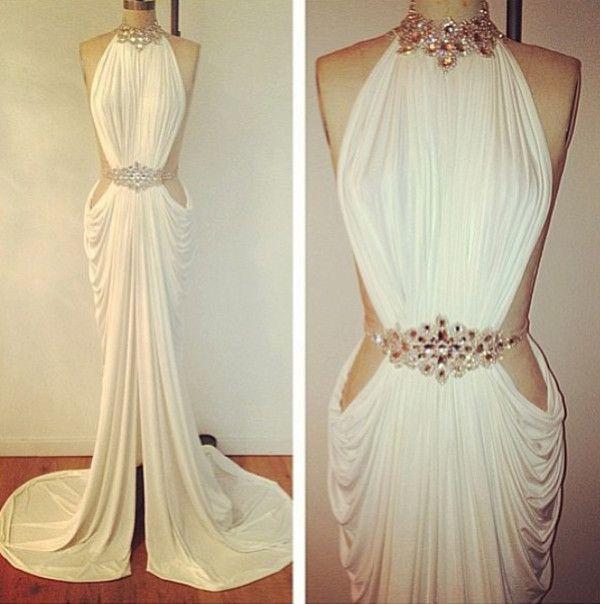 High Neck Beaded Open Side Front Slit A- Line Chiffon Dress ...
