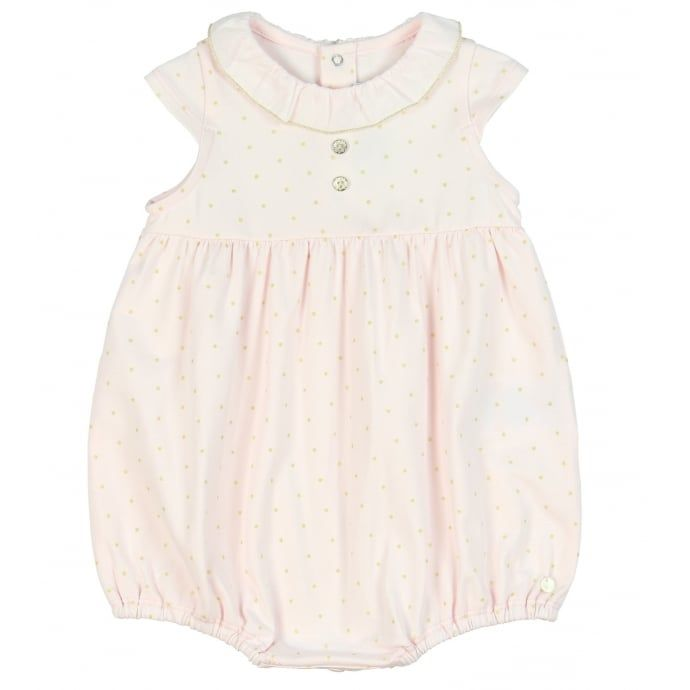 Tartine Et Chocolat Baby Girls Pink Romper with Frill Collar and Gold Dot Print. Now available at www.chocolateclothing.co.uk