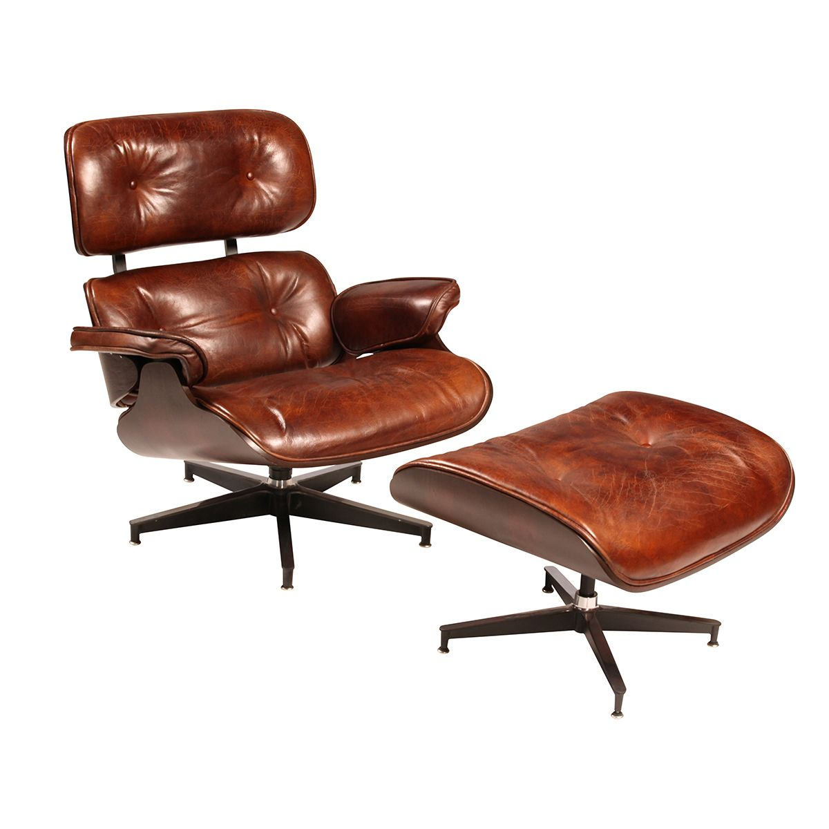 Leather Chair with Ottoman.  Tufted leather arm chair with matching ottoman…