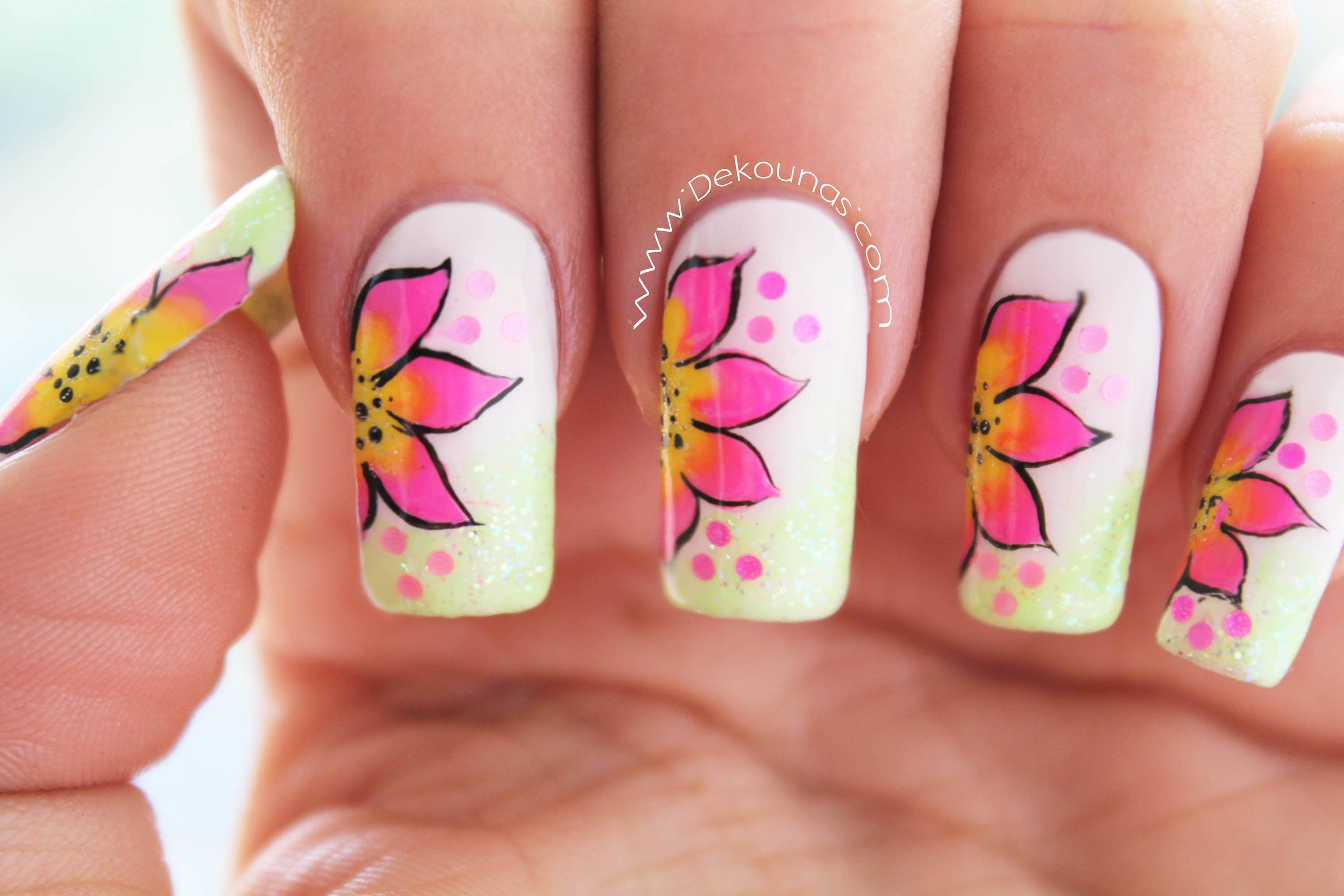 Decoración de uñas flores faciles - Easy flower nail art | mi mama ...