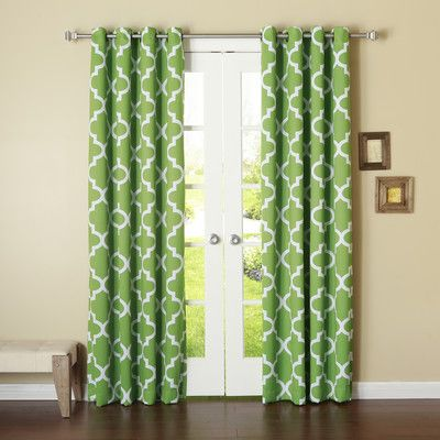"Best Home Fashion, Inc. Moroccan Print Room Darkening Single Curtain Panel Color: Green, Size: 52"" W x 63"" L"