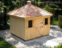 10x10 Hip Roof Garden Shed With Pine Board Batten Siding Shutters Rounded Wood Single Door Cedar Shake Roof And Cup Roof Design Hip Roof Shed Design Plans