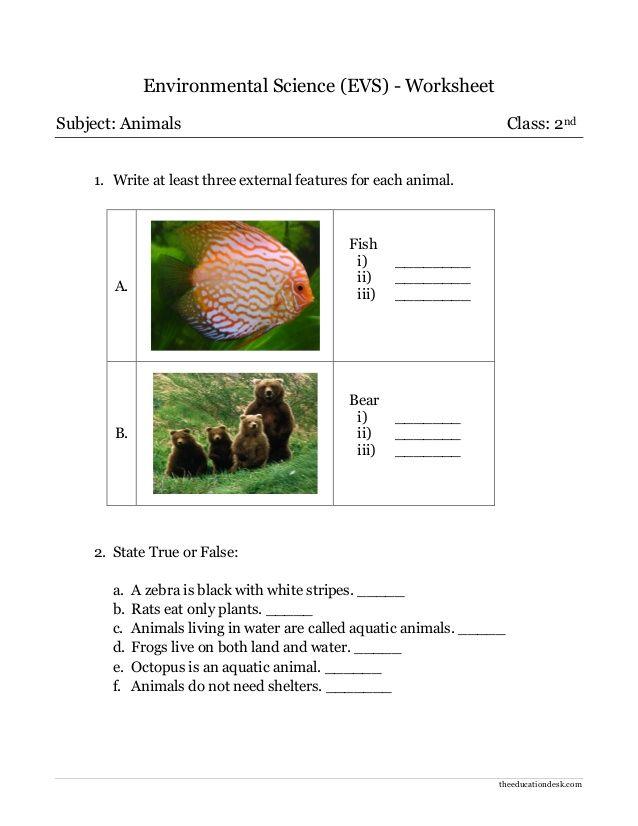 Theeducationdesk Environmental Science Evs Worksheet Subject