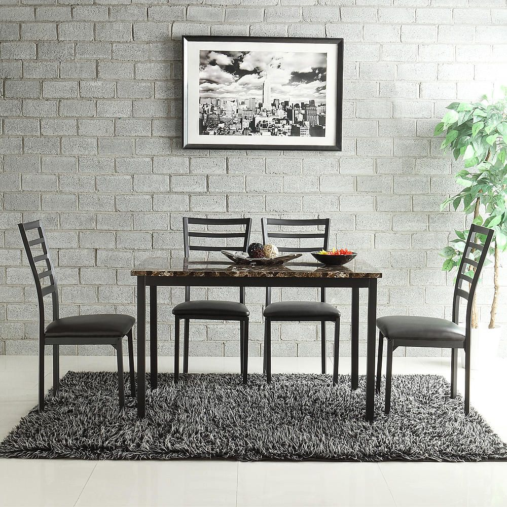 Oxford Creek Kirkham Faux Marble 5 Piece Casual Dining Set   Home    Furniture