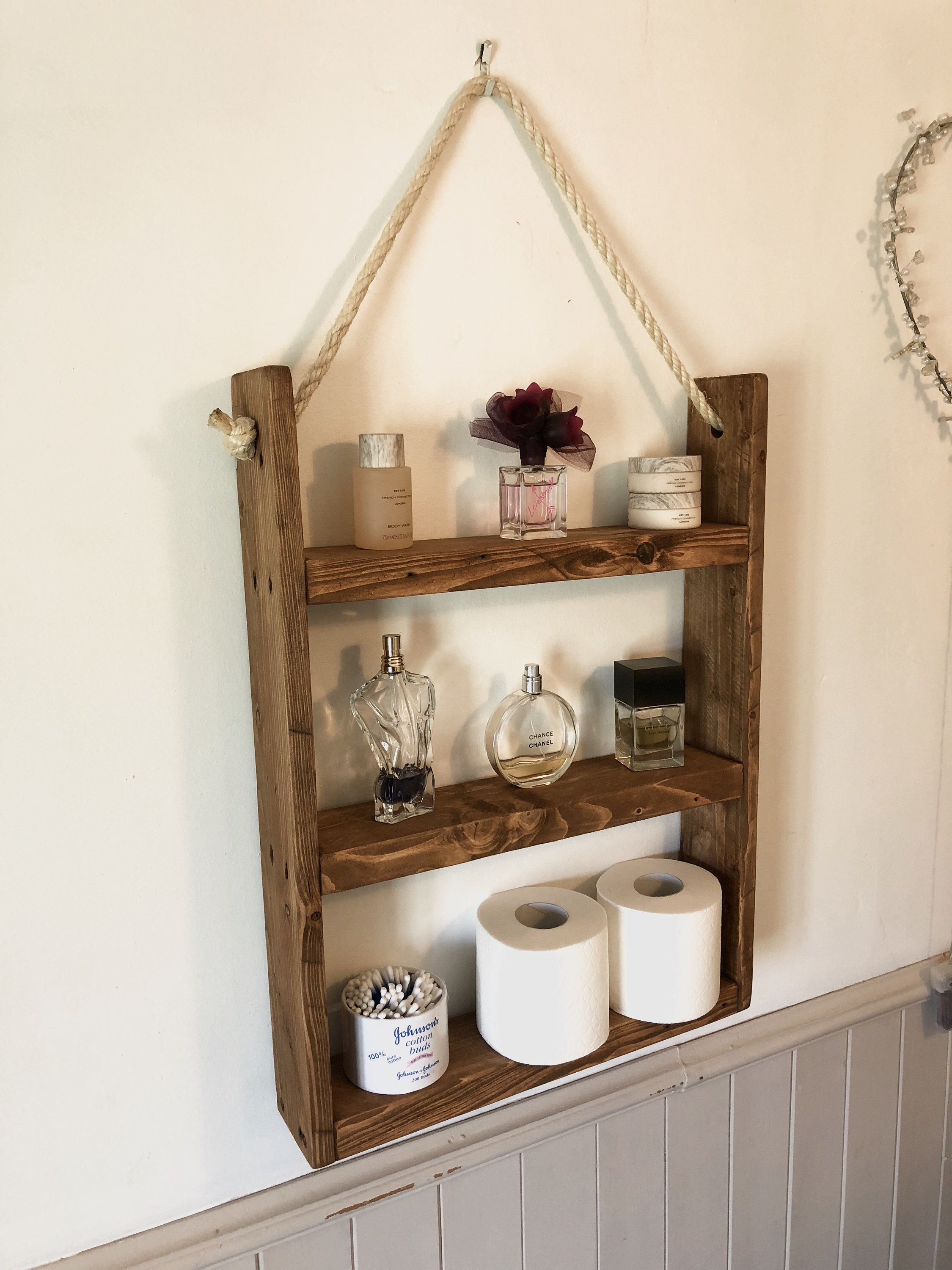 Rustic Hanging Ladder Shelf With Rope Wall Mounted Etsy Hanging Ladder Ladder Shelf Shelves