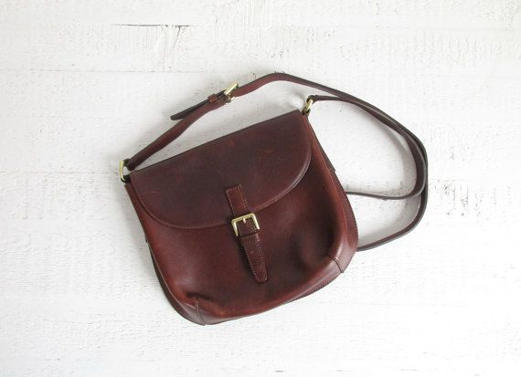 Vintage G H Bass Co Leather Purse Minimal Shoulder Or Crossbody Bag Mahogany Brown