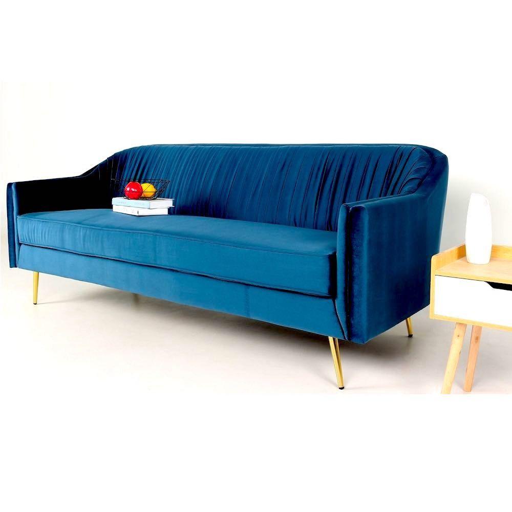 Canape Fixe 3 Places Aramis Velours Bleu En 2020 Canape Canape