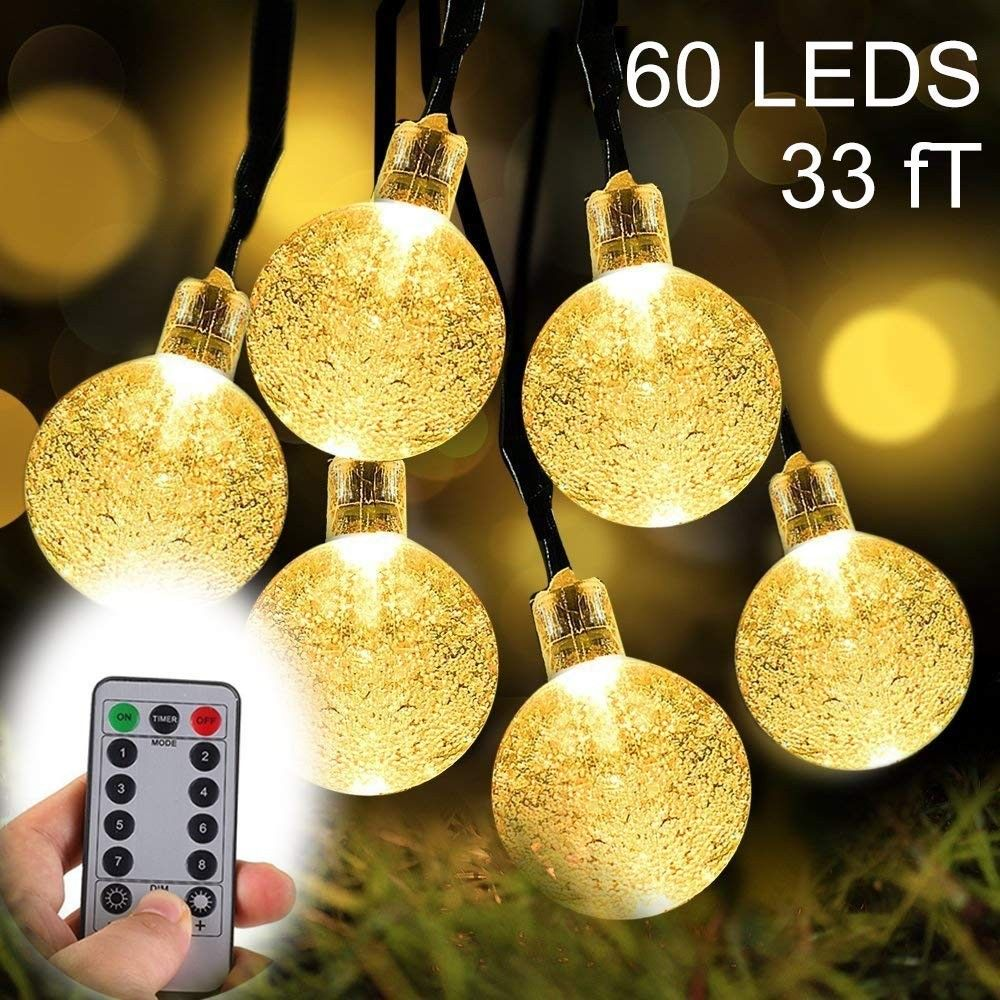 ZOUTOG 33ft 60 Crystal Balls Battery Operated String Lights Outdoor Lights...