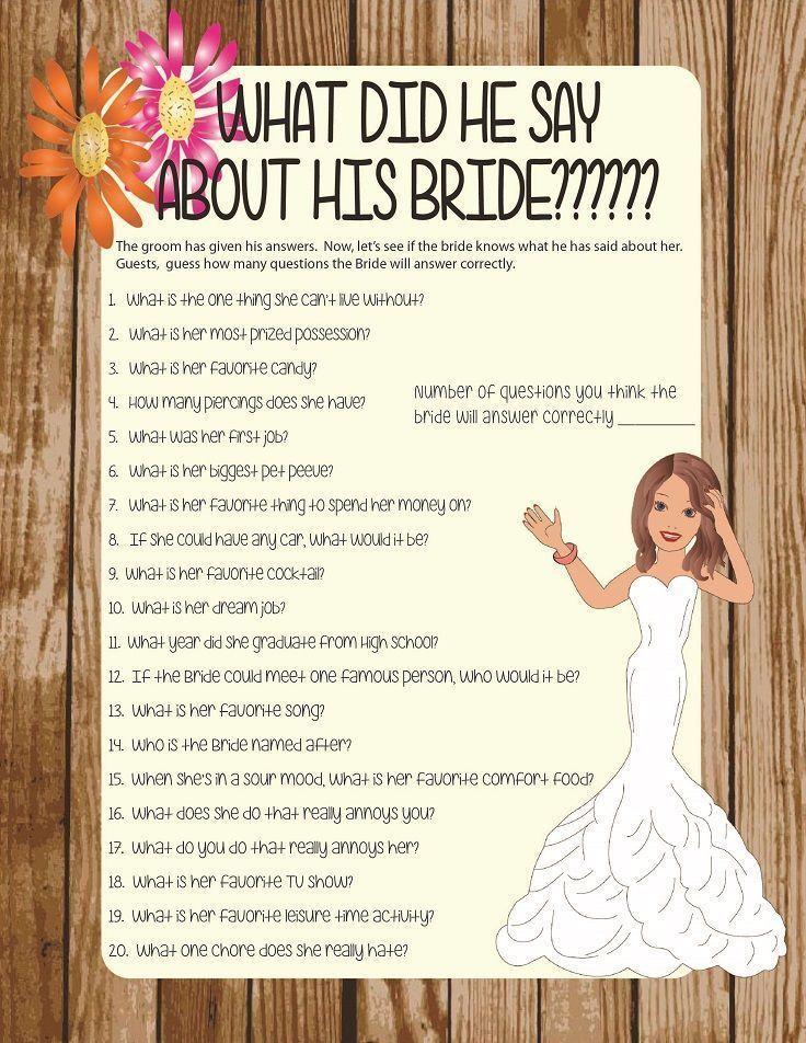 Bridal Shower Game Bridal Shower Games Pinterest