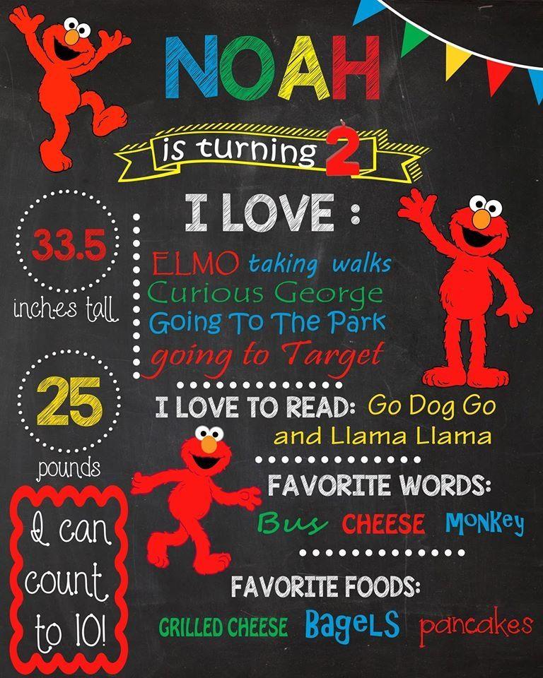 Elmo Sesame Street Birthday Chalkboard