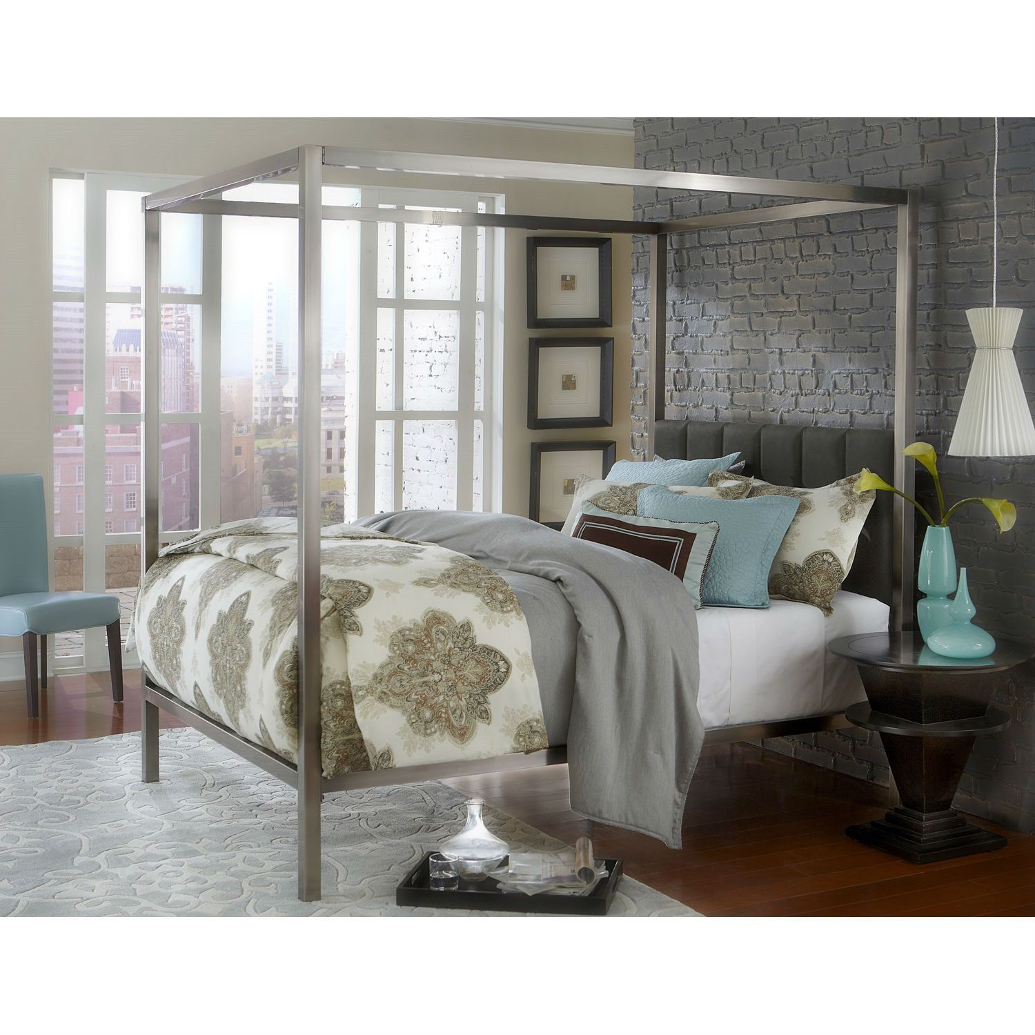 Best King Size Modern Metal Canopy Bed With Upholstered 400 x 300