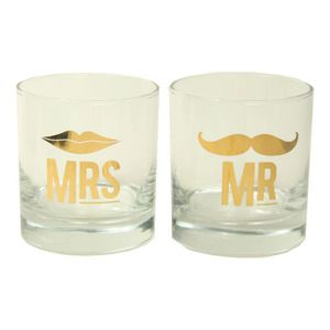 Mr. and Mrs. Cocktail Glass Set $18