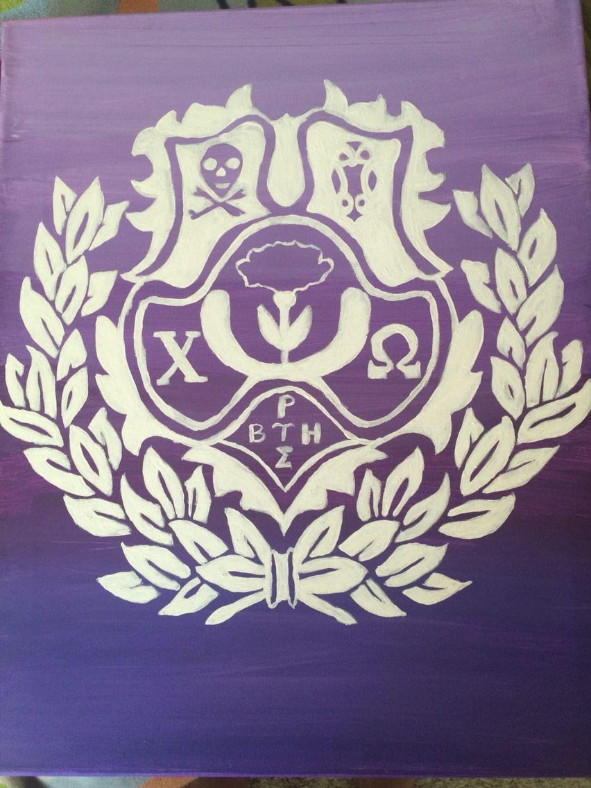 Chi omega crest canvas   Srat life   Chi omega, Sorority crafts