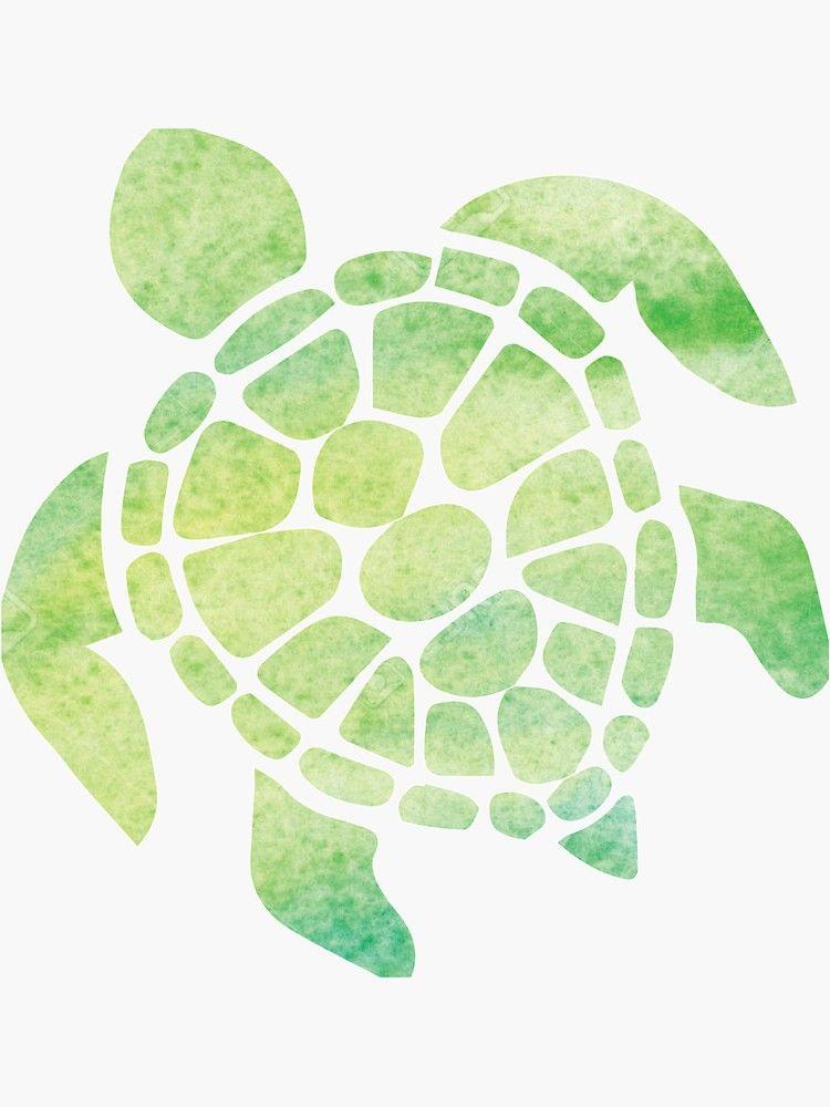 Watercolor Sea Turtle Sticker By Emilystp23 In 2020 Watercolor