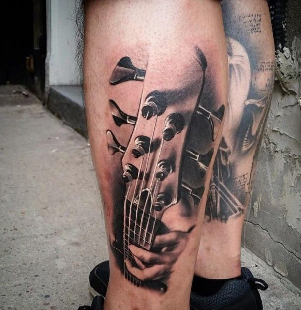 tattoo 3d gitarren griff auf wade tattoos pinterest waden gitarre und 3d. Black Bedroom Furniture Sets. Home Design Ideas