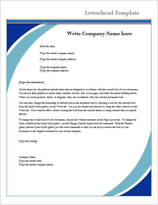 sample letter header