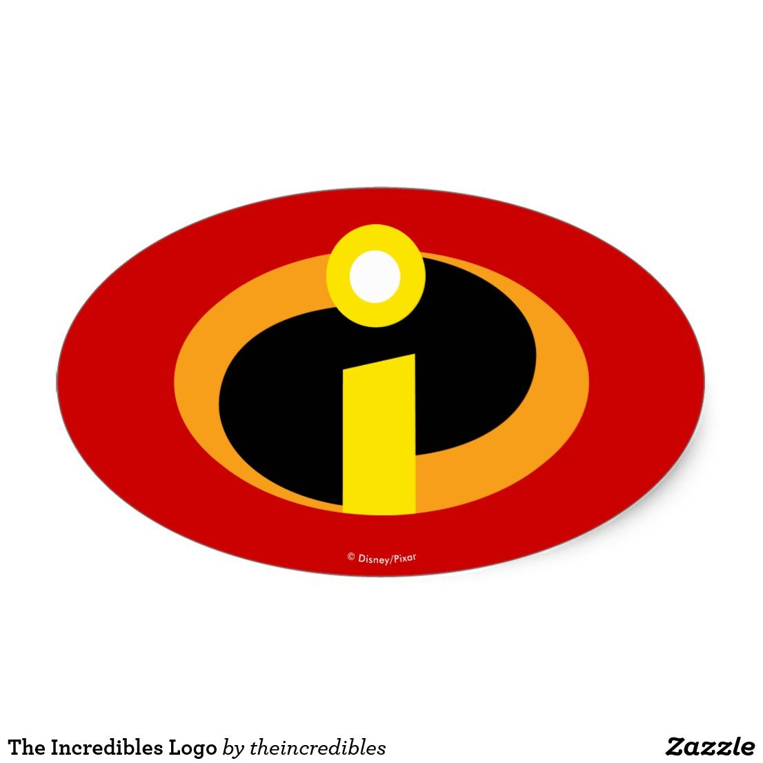 photo relating to Incredibles Logo Printable named The Incredibles Brand Oval Sticker  Customize
