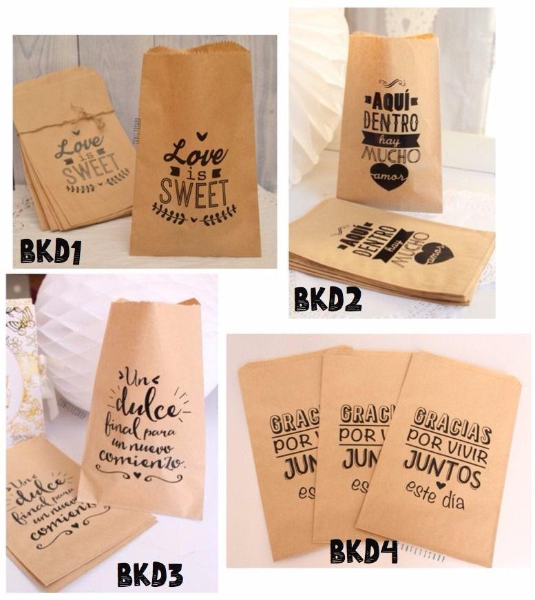 d9303e599 25 Bolsas Papel Kraft Diseños Recuerdo Boda Mesa Dulces - $ 112.00 ...