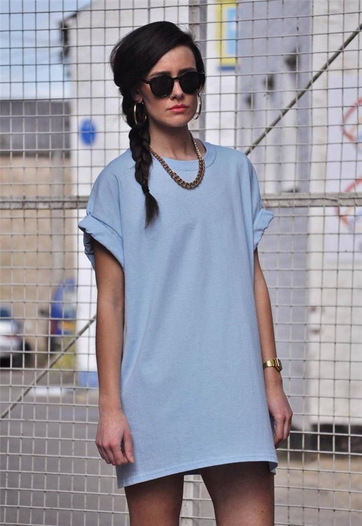 4820 NEW 90s style oversize baggy boyfriend baby blue tee T-Shirt Dress top 5e4659f74