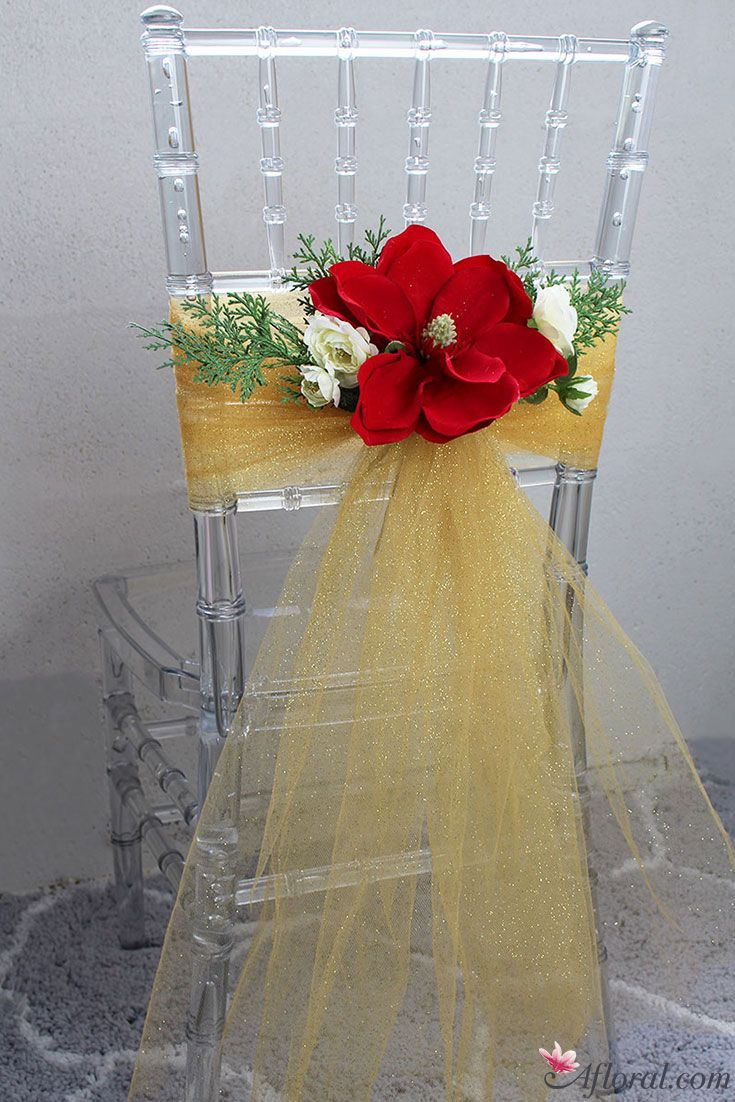 Design Your Chairbacks With Stunning Faux Flowers And Gold Tulle
