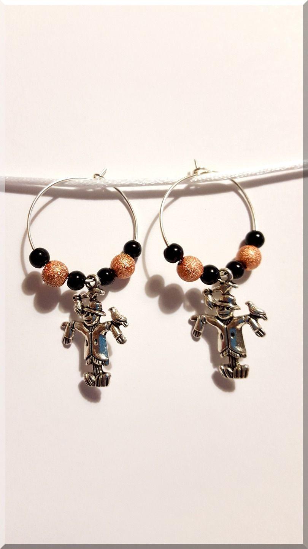 Boucles d'Oreilles épouvantail noires et orange : Boucles d'oreille par aliciart