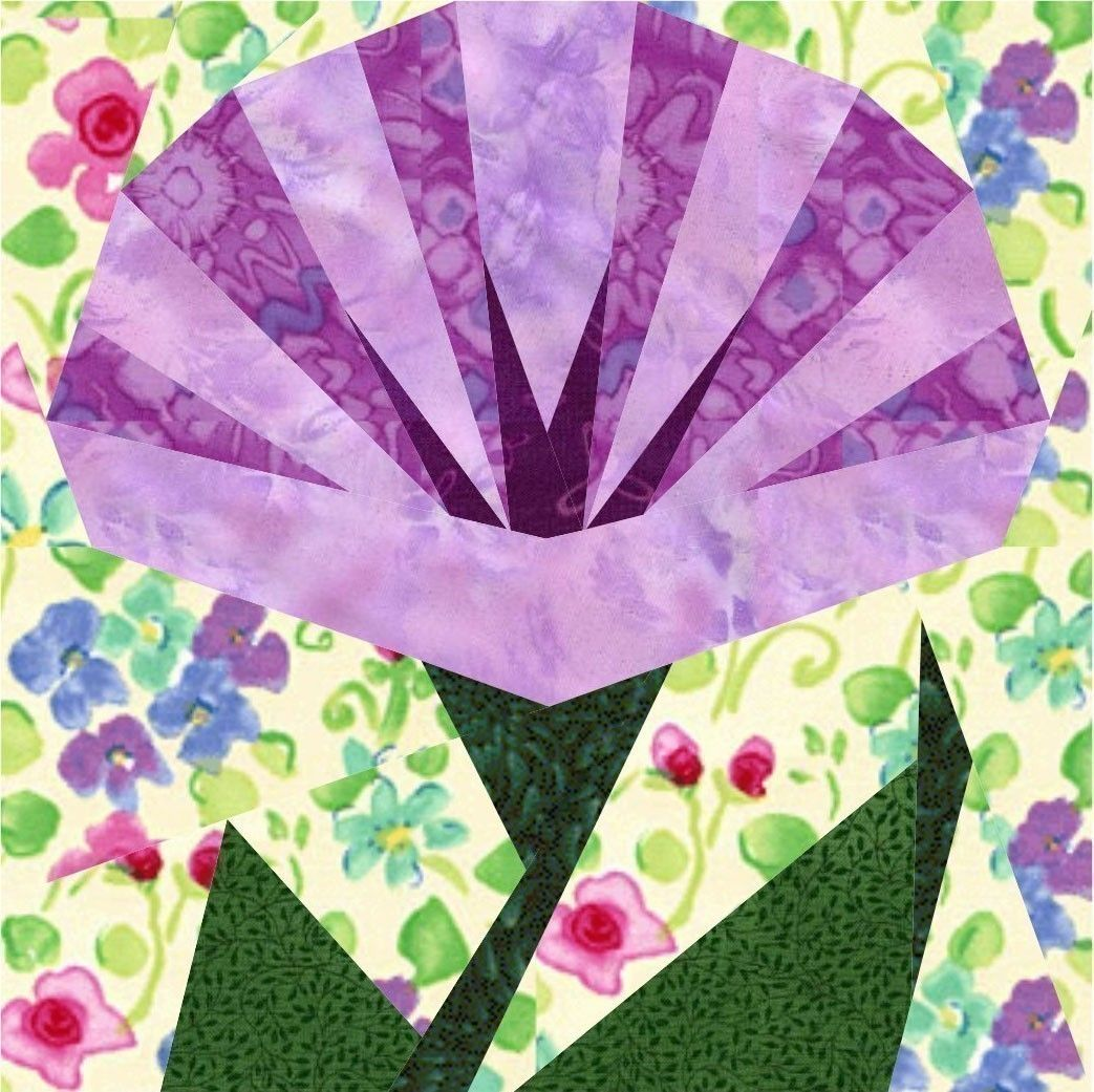 Morning In May 4 Paper Pieced Flower Quilt Block Patterns Pack Pdf