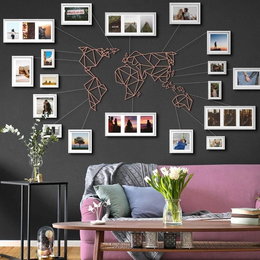 Combine Your Modern Home Or Office Decor With Elegant Metal Wall Art And Have A Motivating Living A In 2020 Travel Wall Decor World Map Wall Decor Wall Art Living Room