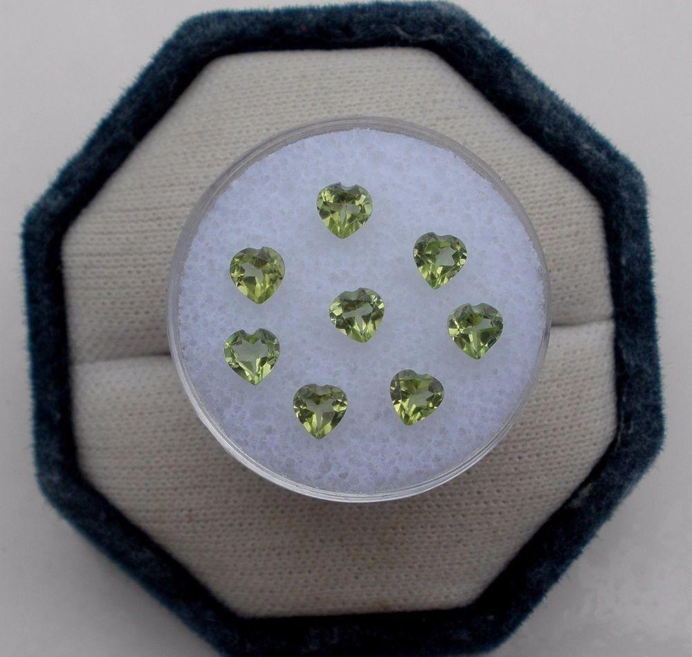 8 Peridot Heart Loose Gems 4mm each #pinnaclediamonds