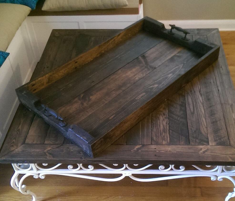 Custom Reclaimed Wood Serving Tray 36 X 20 By Naturecolor Etsy Servingtray Reclaimedwood Ottomantray