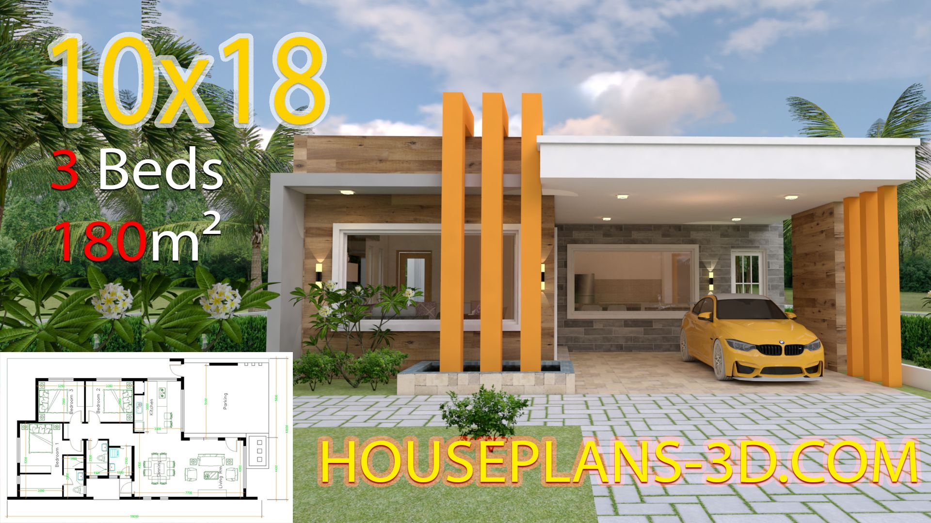 House Design 10x18 With 3 Bedrooms Terrace Roof House Plans 3d House Plans House Construction Plan House Design