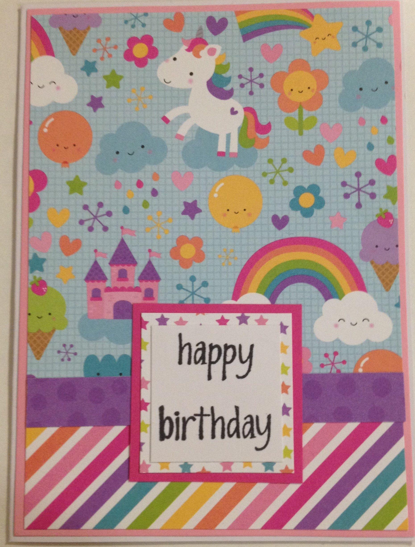Unicorn Birthday Card Kids Birthday Card Birthday Card For Girl