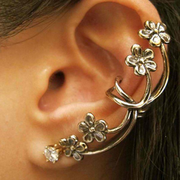 Stylish Rhinestone Flower Ear Cuff For Women(Piece)