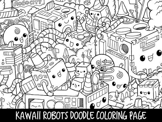 Printable Cute/Kawaii Robots Doodle Coloring Page for kids ...