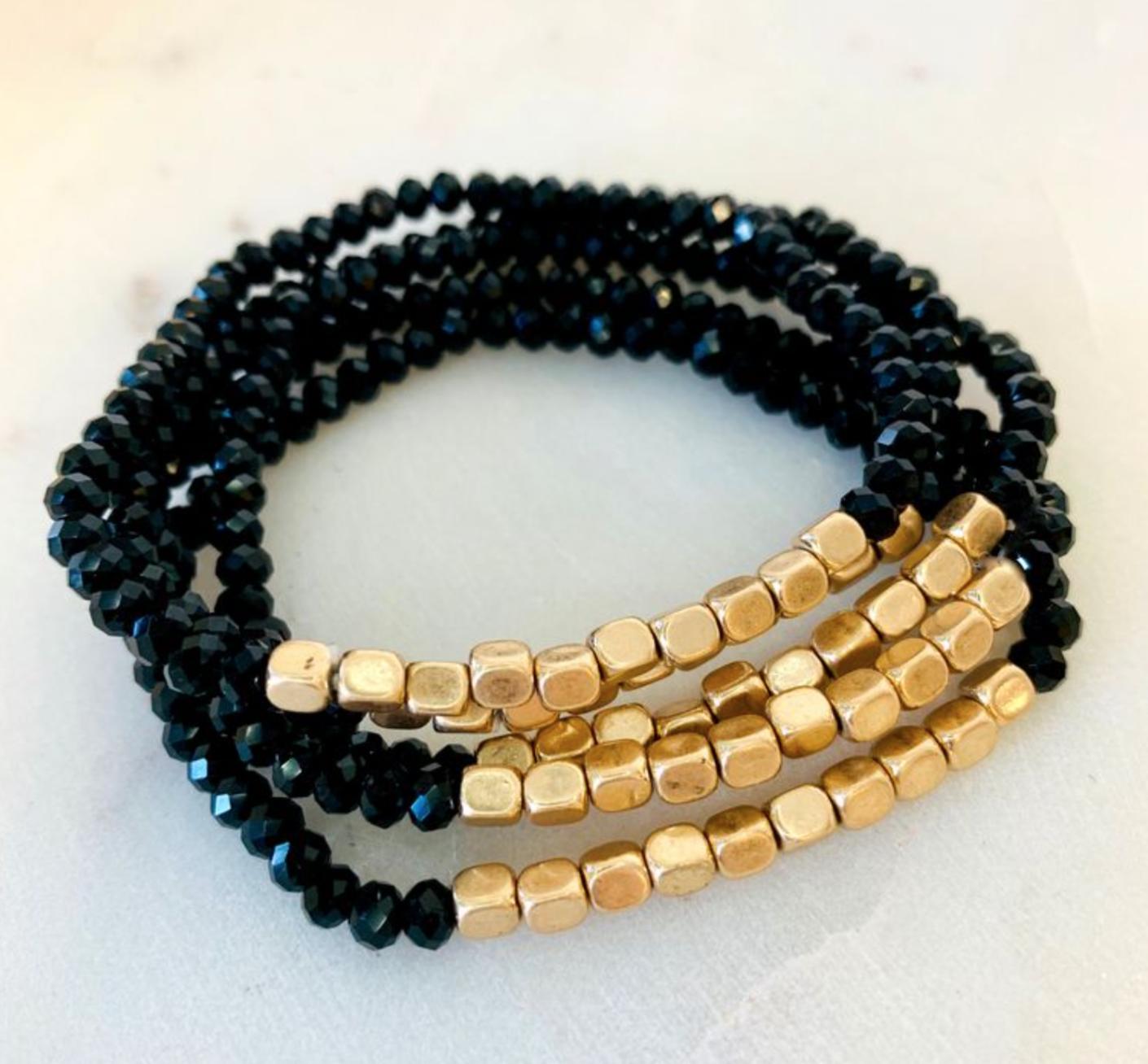 Photo of Julianne Stone Bracelet – Black/Gold