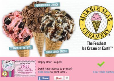 Happy Hour Coupon For Free And Discounted Marble Slab Creamery Ice Cream Dessert Via Facebook Marble Slab Creamery Peanut Butter Crunch Marble Slab Ice Cream
