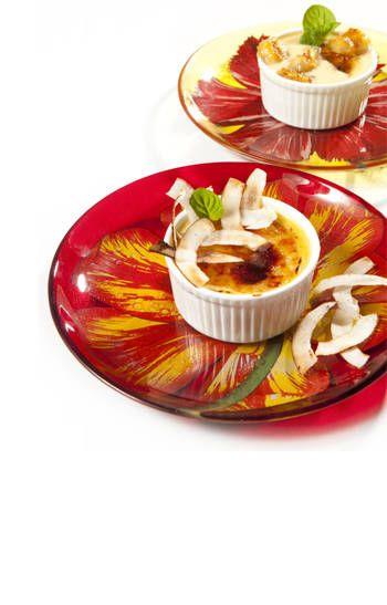 Crème br lée con ron y cambures acaramelados